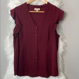 Modcloth •Ruffled short sleeve button down top